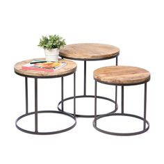 Round Rustic Nesting Tables - Set of 3