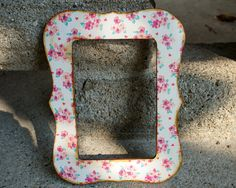 Shabby chic frame with pink and blue floral design by FramezCraze, $10.00