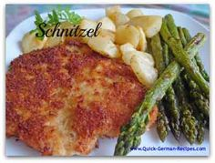 German Pork Schnitzel http://www.quick-german-recipes.com/german-schnitzel-recipe.html A quick and easy meal.