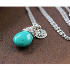 Turquoise Handstamped Initial Sterling Silver Necklace - $47.00