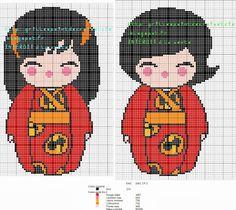 grilles point de croix et cie: Grilles point de croix les indestructibles Kokeshi