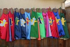 personalized superhero capes w/ initials for each kid.... could be a really easy diy and super cool party favor!