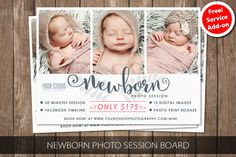 Free Service Add-on Newborn Photo Session Photoshop template, Outdoor Mini Session Photography Marketing board MMSS501 by SasiDesignTemplates on Etsy