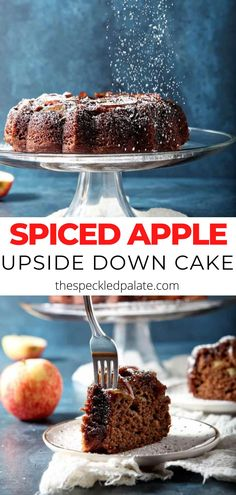 Celebrate fall flavors and cooler temperatures by baking a Spiced Apple Upside Down Cake with Bourbon Caramel Glaze! Apple-filled and bursting with cinnamon, ginger and allspice, this boozy cake is sure to be loved when served to family, friends or guests. #apple #cake #spice #fall #dessert Best Cake Recipes, Apple Recipes, Cupcake Recipes, Fall Recipes, Baking Recipes, Holiday Recipes, Cupcake Cakes, Dessert Recipes, Breakfast Recipes