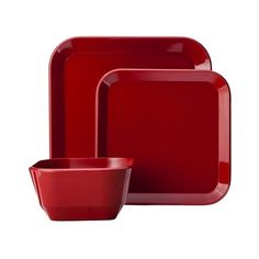 Room Essentials 12 Piece Square Dinnerware Set - Red ($22) ❤ liked on Polyvore featuring home, kitchen & dining, dinnerware, red, red melamine dinnerware, red dinnerware, room essentials dinnerware, red square dinnerware and red square dinnerware sets