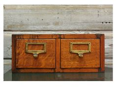 Vintage Oak Card Catalog    Two Drawer Library Cabinet By Globe Wernicke