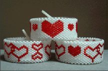 Hearts Galore Tea Light Cover Set Pattern - Item Number 15382 at Bead-Patterns.com