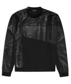 Black Croc Leather Sweatshirt