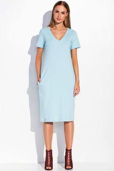 Sukienka Makadamia M294 - błękitny Stylowa sukienka damska. ...  https://www.mega-ciuchy.pl/sukienka_makadamia_m294_blekitny