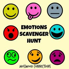 An emotions scavenger hunt builds emotional awareness, perspective taking, whole body listening, & social skills. Go on a feelings & emotions scavenger hunt! Social Emotional Activities, Emotions Activities, Social Skills Activities, Social Emotional Development, Teaching Social Skills, Counseling Activities, School Counseling, Therapy Activities, Therapy Ideas