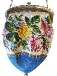 Jugendstil Perlenhandtasche um 1900