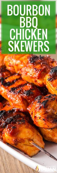 BBQ chicken skewers are tender, juicy, and easy to throw together at the last minute. Create mouthwatering flavor with just a few ingredients! #BourbonBBQChickenSkewers #Grilling #Chicken Recipes Using Bacon, Fun Easy Recipes, Real Food Recipes, Dinner Recipes, Easy Meals, Cooking Recipes, Grill Recipes, Recipe Using Chicken, Baked Chicken Recipes
