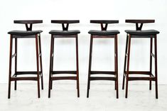 Rosewood and Leather Bar Stools, Denmark, 1960s   From a unique collection of antique and modern stools at https://www.1stdibs.com/furniture/seating/stools/