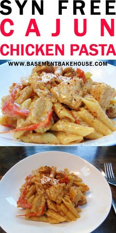 This SYN FREE CAJUN CHICKEN PASTA is a tasty one pot Slimming World pasta dinner recipe. If you're in the mood for a delicious Slimming World chicken recipe then this is perfect for you! astuce recette minceur girl world world recipes world snacks Slimming World Dinners, Slimming World Chicken Recipes, Slimming World Recipes Syn Free, Slimming World Pasta Dishes, Slimming World Lunch Ideas, Pasta Dinner Recipes, Chicken Pasta Recipes, Pasta Food, Pasta Dishes With Chicken