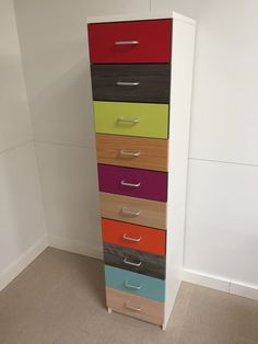 Items similar to Multicoloured Tallboy Drawer Unit Office and Home Storage on Etsy Tall Boy Drawers, Drawer Unit, Drawer Fronts, Office Furniture, Filing Cabinet, The Unit, Colours, Storage
