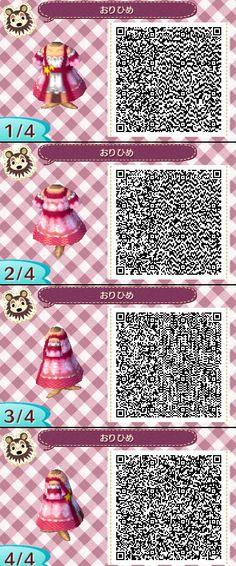 Animal Crossing New Leaf QR codes ありひめ pink dress