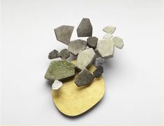 kaori juzu. brooch 2010 enamel, copper, 24kt and 14kt gold, silver, fine silver.