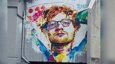 Dunedin artist Tyler Kennedy Stent's controversial Ed Sheeran mural has been unveiled. New Zealand Cities, Mural Art, Ed Sheeran, Vacation Trips, Music Writing, Writing Art, Street Art, Watercolor, History