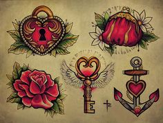 Tattoo & Ink: Old School - Key; anchor; rose