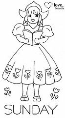 Dutch girl days of the week embroidery patterns. Towel Embroidery, Embroidery Transfers, Embroidery Patterns Free, Vintage Embroidery, Embroidery Applique, Cross Stitch Embroidery, Stitch Patterns, Embroidery Designs, Paper Embroidery