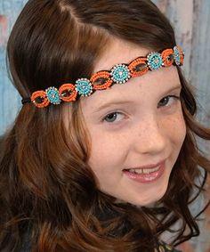 Look at this #zulilyfind! Coral & Turquoise Beaded Boho Halo Headband #zulilyfinds