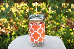 Orange quatrefoil mason jar tumbler with free embroidery!! Check out this item in my Etsy shop today!! https://www.etsy.com/listing/199618868/mason-jar-tumbler-24-oz-mason-jar-to-go