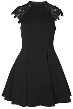 6f729f46dd3 Forever Unique Women s Alicia Lace Sleeve Black Skater Dress on shopstyle .co.uk Forever
