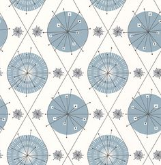 Botanical Bursts Cornflower Blue wallpaper by Layla Faye