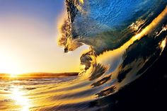 Sunrise reflected in the waves, beautiful, surreal, special, and epic.