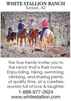 Dude Ranch Vacations - Guest Ranch at White Stallion Ranch, Tucson, AZ Dude Ranch Vacations, Horse Riding Tips, Guest Ranch, Adventure Bucket List, Arizona Travel, Horse Photography, Mexico Travel, The Ranch, Horseback Riding