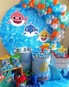 Festa Baby Shark: 70 ideias e tutoriais para uma decoração animal Shark Birthday Cakes, Baby Boy 1st Birthday Party, 2nd Birthday Party Themes, Happy Birthday Celebration, Shark Party Decorations, Baby Shark, Bernardo, Lyon, Gabriel
