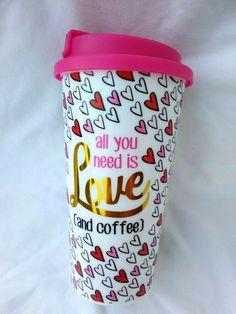 288ead1fe4d Erica LyonsAll You Need is Love double wall Travel Mug 16 oz Coffee Tea  Latte #