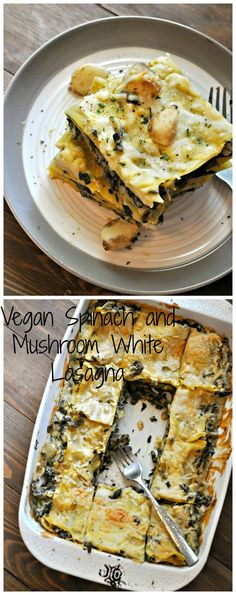Vegan Spinach and Mushroom White Lasagna  - Rabbit and Wolves