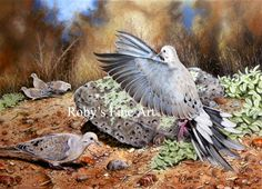 """""""Flight 682"""" - by Roby Baer. Pastels. She said, """"I titled this painting 'Flight 682' as this is the required number that had to be depicted on the aluminum band on the doves legs""""."""