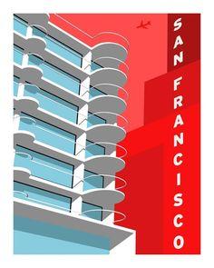 Mendelsohn Modern - Forgotten Modernism of San Francisco's Architecture - Vector Illustration by Michael Murphy