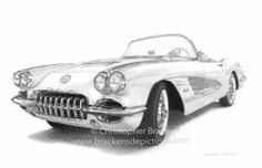 1958 Corvette Drawing  www.brackensdepictions.com #art #drawing #corvette #classic car