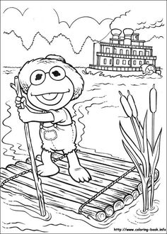 muppet babies kermit on the bayou coloring picture