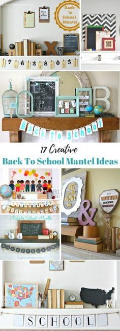 17 Creative Back to School Mantels (Remodelaholic) Back To School Party, Diy Home Accessories, School Decorations, Fall Decorations, Diy Home Decor Projects, Do It Yourself Home, Decorating On A Budget, Interior Design Living Room, Decor Styles
