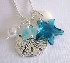 Starfish Sea Glass Necklace Summer Beach by GardenLeafSeaside Sea Glass Necklace, Love Necklace, Sea Glass Jewelry, Jewelry Crafts, Handmade Jewelry, Earrings Handmade, Summer Necklace, Bling, Beach Jewelry
