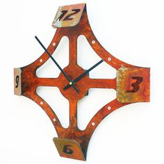 Folding Over V Modern Wall Clock (Rusted) - $58