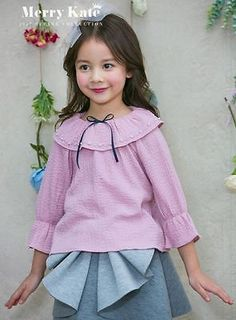 Kids Clothing Girl Blouse with Pearl (Light Violet) Long Sleeve Made in Korea