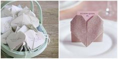 Origami Heart Wedding Place Cards 15 New Ideas Diy Origami, Origami Wedding, Origami Tutorial, Diy Wedding, Wedding Ideas, Origami Boxes, Dollar Origami, Origami Ball, Origami Ideas