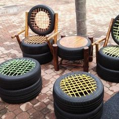 Recycling Möbel aus Autoteilen: 46 super kreative Ideen y Manualidades Reciclaje y Manualidades Ideas y Manualidades ✂️ Tire Furniture, Diy Garden Furniture, Recycled Furniture, Furniture Design, Furniture Removal, Furniture Ideas, Tire Chairs, Cool Chairs, Dining Chairs