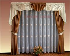 Window Dressing on Pinterest | 37 Pins Swag Curtains, Home Curtains, Curtains With Blinds, Valances, Elegant Curtains, Beautiful Curtains, Modern Curtains, Drapery Styles, Drapery Designs