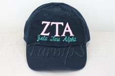 Zeta Tau Alpha Sorority Baseball Cap - Custom Color Hat and Embroidery. on Etsy, $12.00