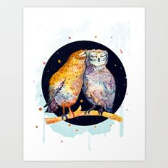 Watercolor, CG, Grahic design, Digetal art Owl family The art is done in watercolor and finished in cg