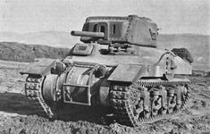 Excellent Front View of the M4A5 Medium Tank / Ram Mk.II Cruiser Tank early production version - auxiliary gun turret on Left Side of Hull and Side Doors.