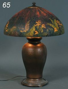 HANDEL REVERSE PAINTED TABLE LAMP Ferns and Goldenr