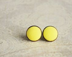 Yellow neon earrings small ear studs texture tiny by Rozibuz, $14.00