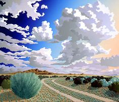 """Doug West ~ """"Camino Real"""" ~ The Camino Real traveled from Mexico City to Santa… Fantasy Landscape, Landscape Art, Landscape Paintings, Landscapes, Let's Make Art, Southwestern Art, West Art, Abstract Nature, Realism Art"""